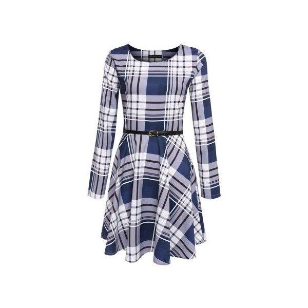 Blue Plaid Long Sleeve A Line Casual Dress ($24) ❤ liked on Polyvore featuring dresses, blue dress, blue plaid dress, blue long sleeve dress, long sleeve backless dress and backless dress