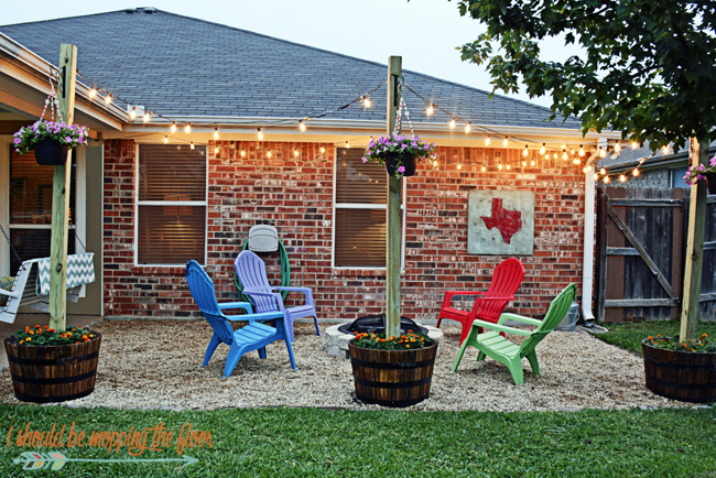 Diy Patio Area With Texas Lamp Posts Back Yard Patio
