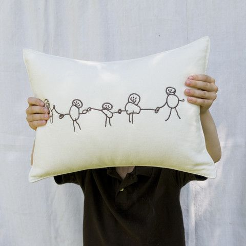 embroidered drawing of friends pillow - p i ' l o