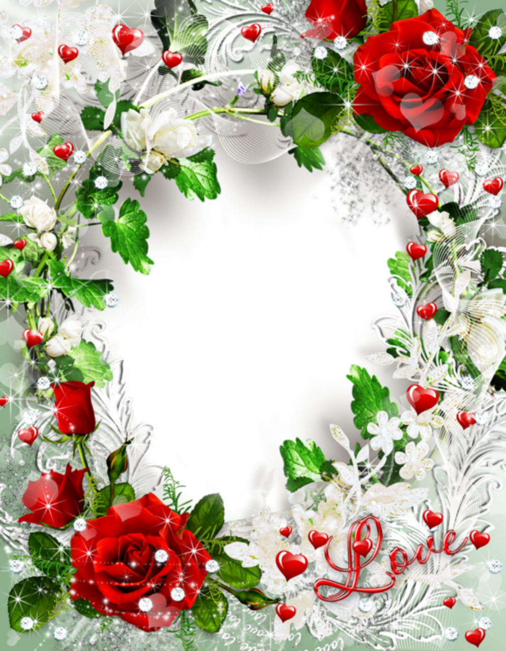 Floral Roses And Hearts Picture Frame Png 995 1280 Romantic Frame Rose Frame Flower Frame