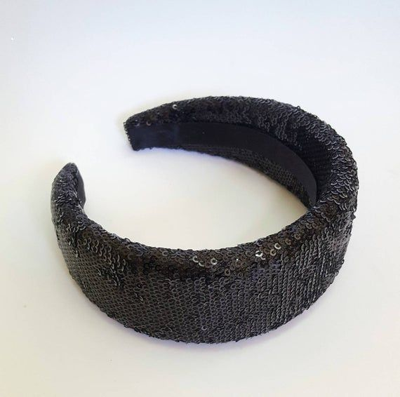 Black sequin headband for elegance ladies, Shiny padded headband for weddings and any occasion. Wide headbands.