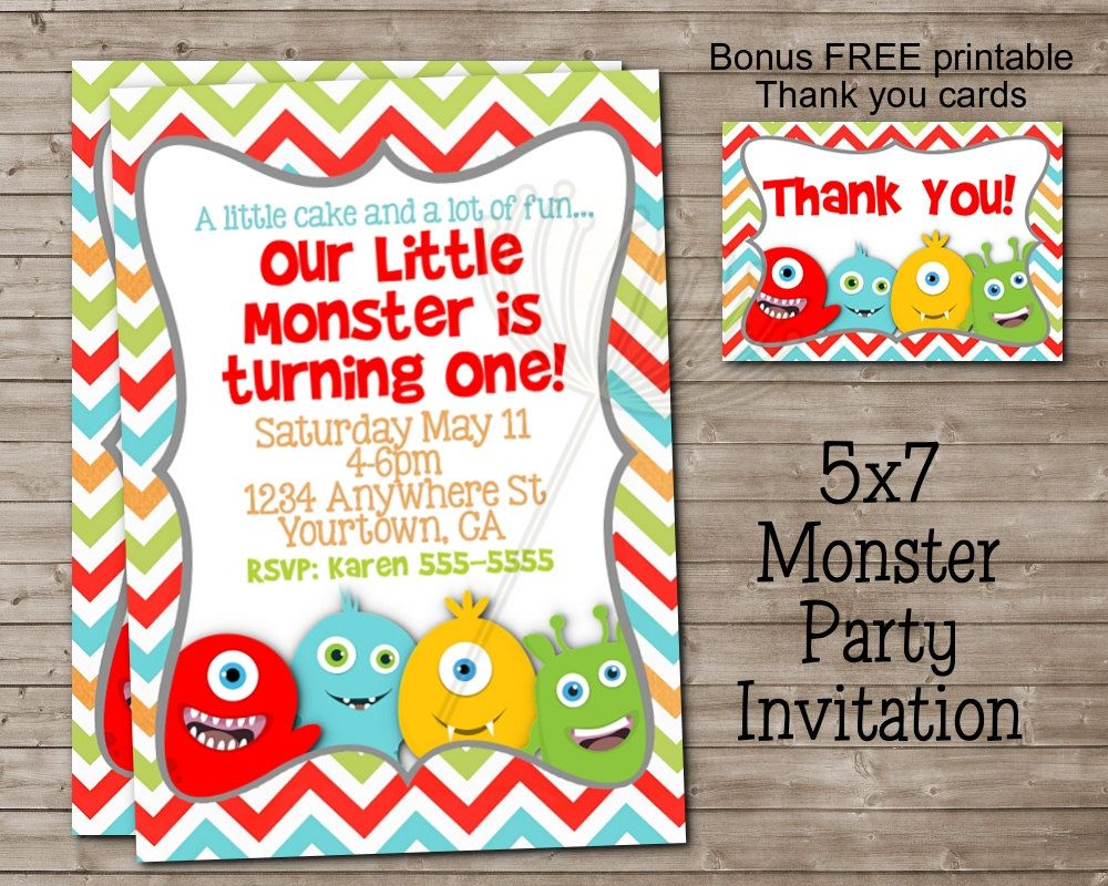 Printable little monster party invitation thank you card for printable little monster party invitation thank you card for girl or boy great for monicamarmolfo Images