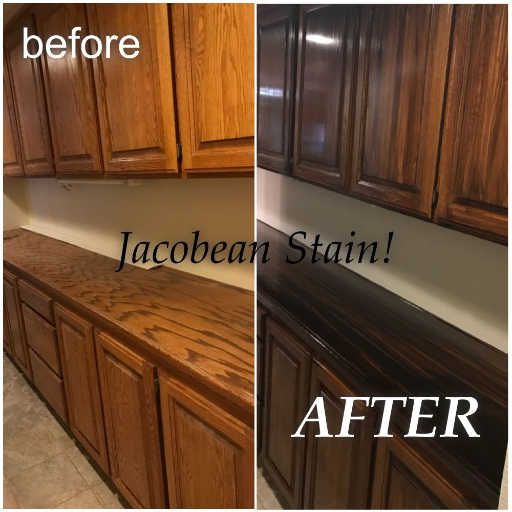 Diy Stain On Hall Cabinets Started With Liquid Sander Then Stained Cabinets Using Minw Stained Kitchen Cabinets Stain Kitchen Cabinets Dark Kitchen Cabinets