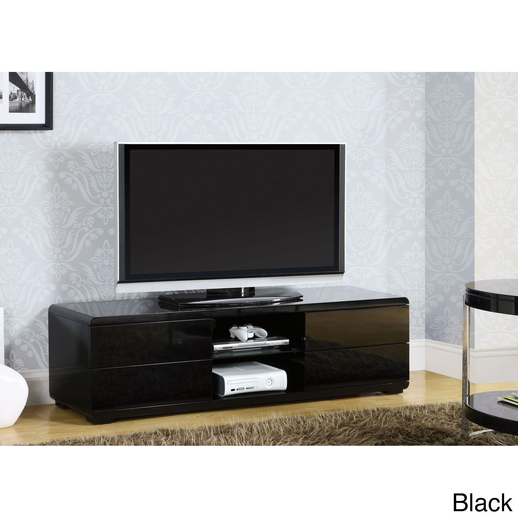 This Modern Tv Console Has Room For The Largest Tv Full Extension  # Cora Meuble Tv