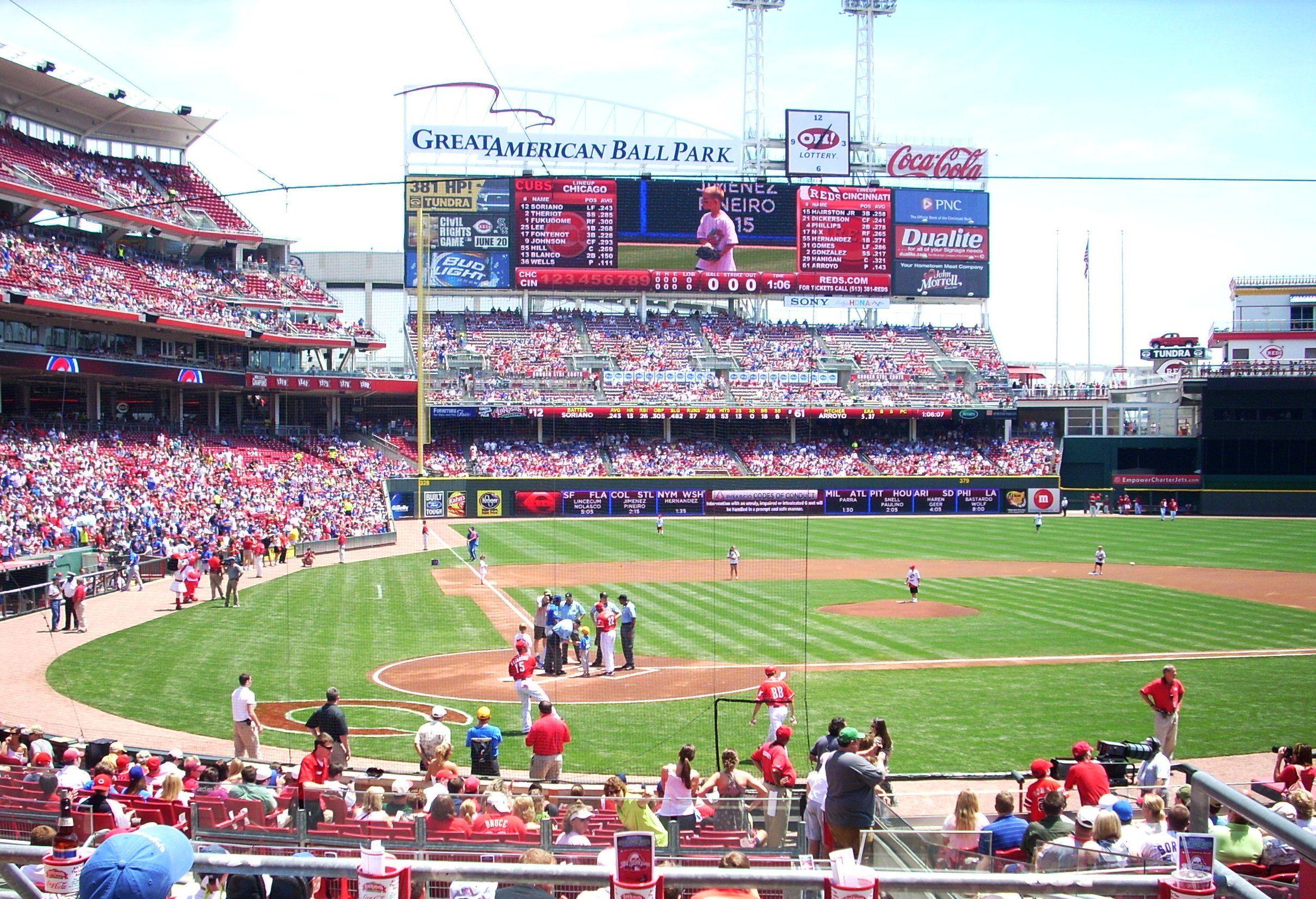 Great American Ballpark Cincinnati Oh Behind Home Plate Major League Baseball Stadiums Ballparks Baseball Stadium