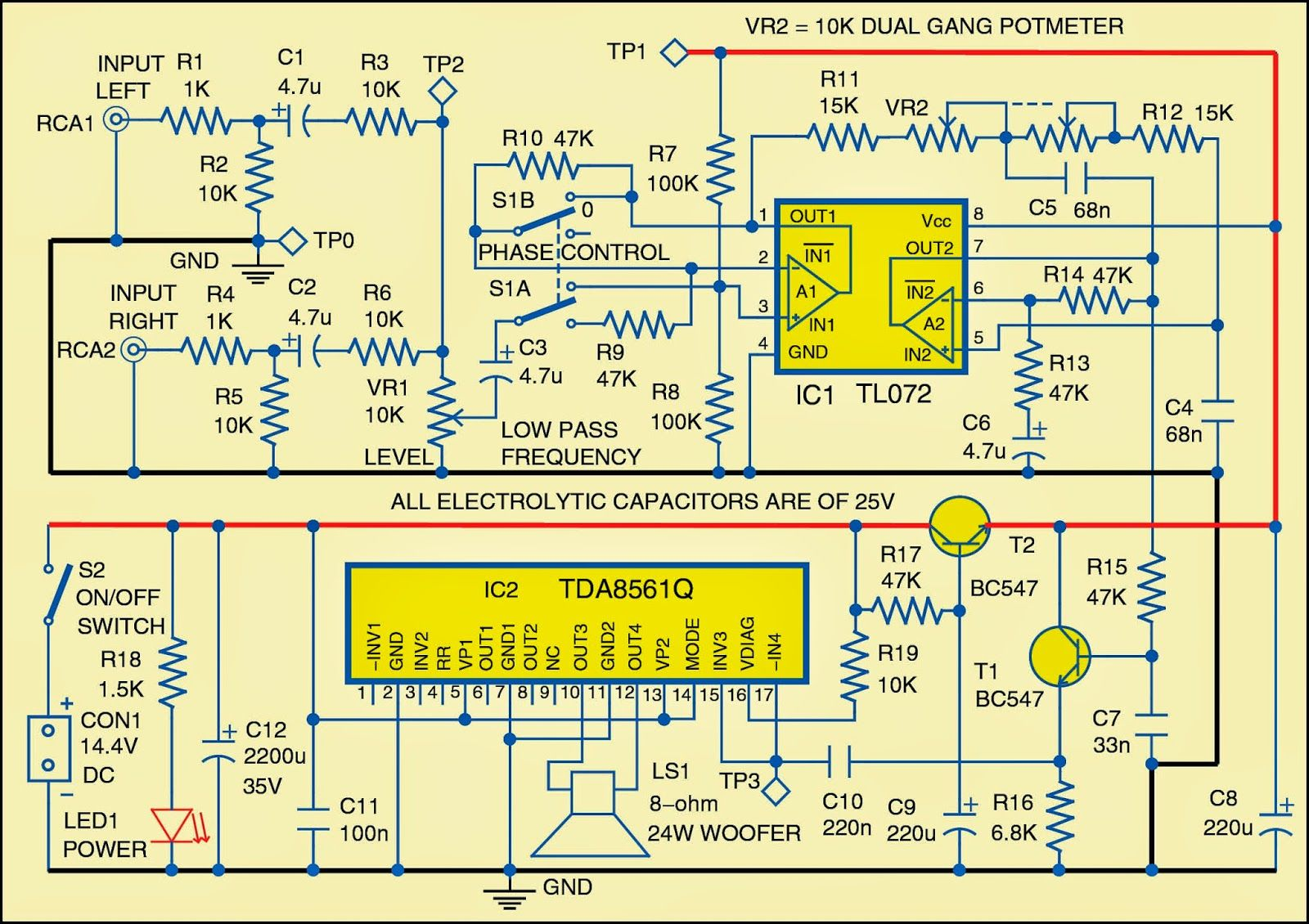 Circuit Diagram Of The Subwoofer For Cars Electronics In 2018 Bi Wiring Speakers
