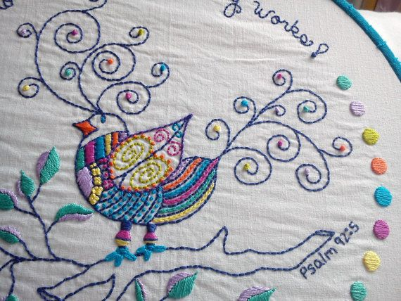 Whimsical Bird Pdf Embroidery Pattern Embroidery Bird And Patterns