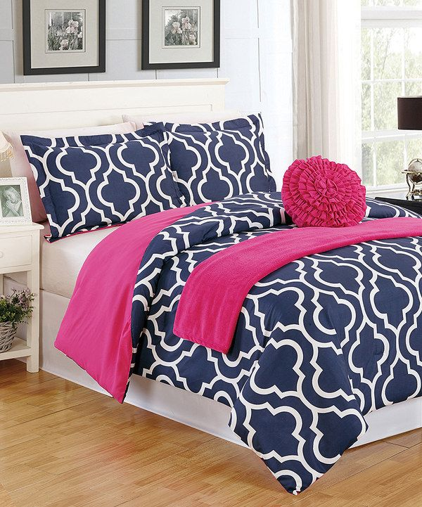 pink and navy bedroom look at this blue geo comforter set on zulily today 16687