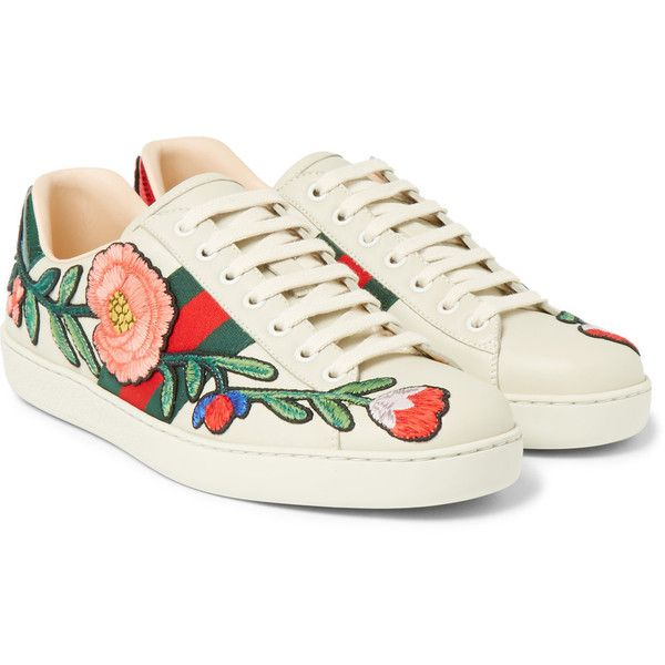 a90d6dc20ff Gucci Ace Appliquéd Snake-Trimmed Leather Sneakers (32