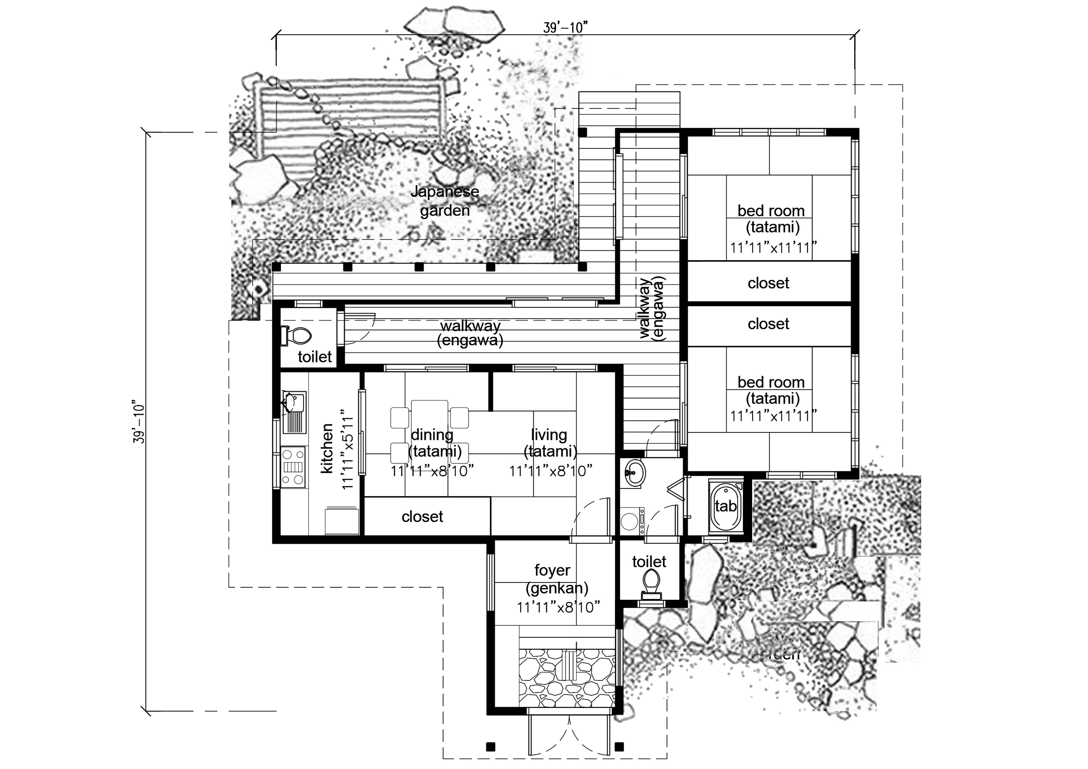 Traditional Japanese House Plan 930 Sqft Whimsical Small