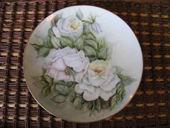 Gorgeous Handpainted White Rose Plate with by ScrubJayTreasures