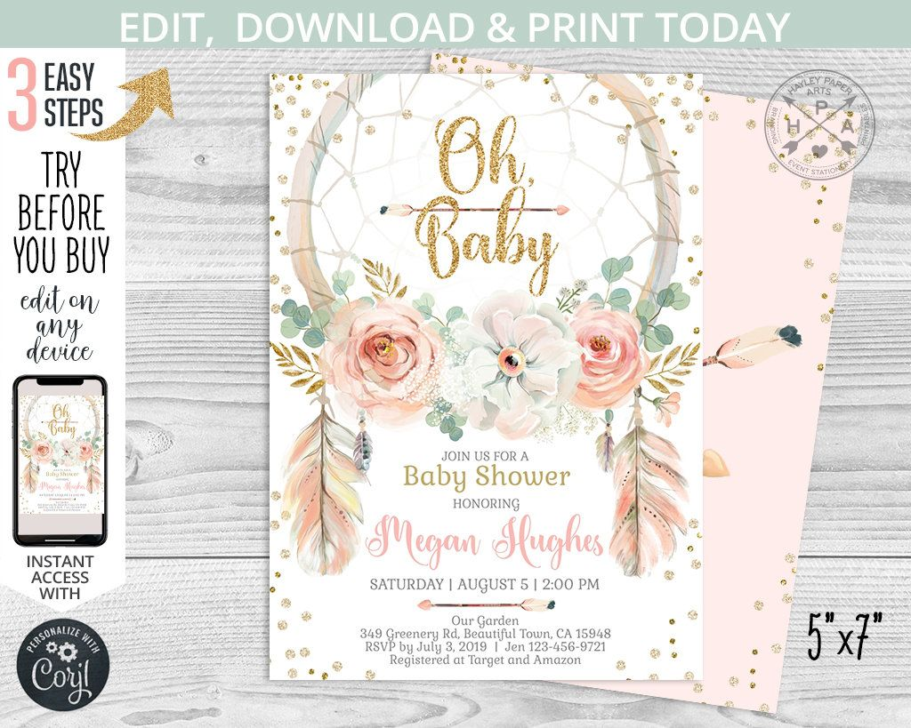 Editable Boho Baby Shower Invitation Bohemian Baby Shower Invitation Baby Shower Templates Boho Baby Shower Baby Girl Shower Invitation