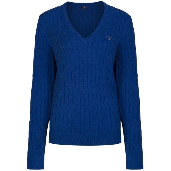 Women's Gant Stretch Cotton Cable V-Neck ($111) ❤ liked on ...