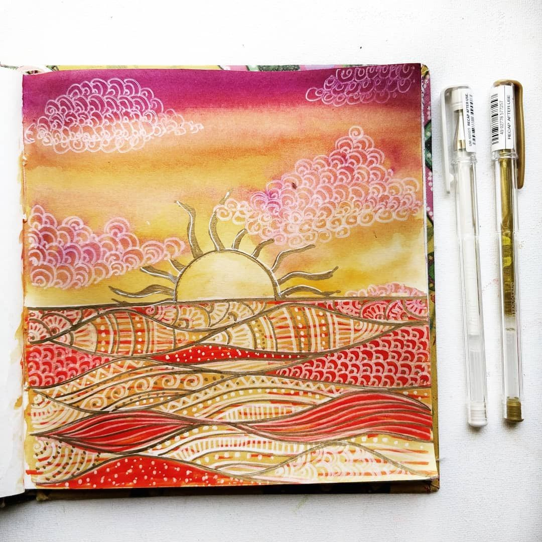 Sunrise Doodle Watercolor  ThatCrazyDoodler : Watercolor , Mandala , Doodles #mandala #watercolor #doodle #thatcrazydoodler #watercolorlandscape #blackandwhite #linedrawing #floralillustration #illustration #sketchbook #artjournal #beautifulpaintings #floralart #watercolorflorals #bujoinspiration #sketchbooktherapy #mandaladrawing #galaxy #nightsky #travel