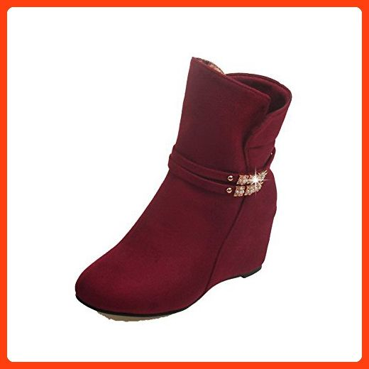 AllhqFashion Womens Pull-on Low-Heels Imitated Suede Solid Low-top Boots