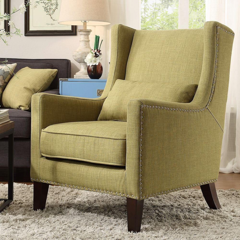 Homesullivan Ashley Oatmeal Linen Wing Back Arm Chair 40e204c Bl3a The Home Depot Accent Chairs Linen Accent Chairs Chair