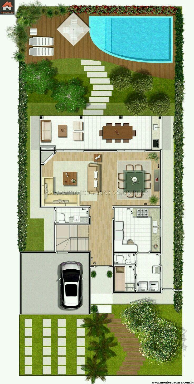 Casa con alberca 2 casas un piso pinterest albercas for Planos de piscinas pequenas