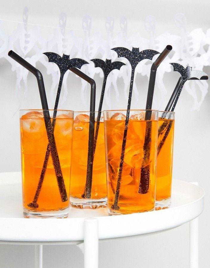 Meri Bat Drink Stirrers By Pack Of 12 Plastic Glitter Finish Design