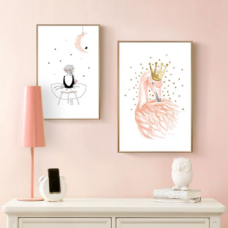 Nordic Poster Girl Canvas Posters And Prints Flamingo Canvas ...