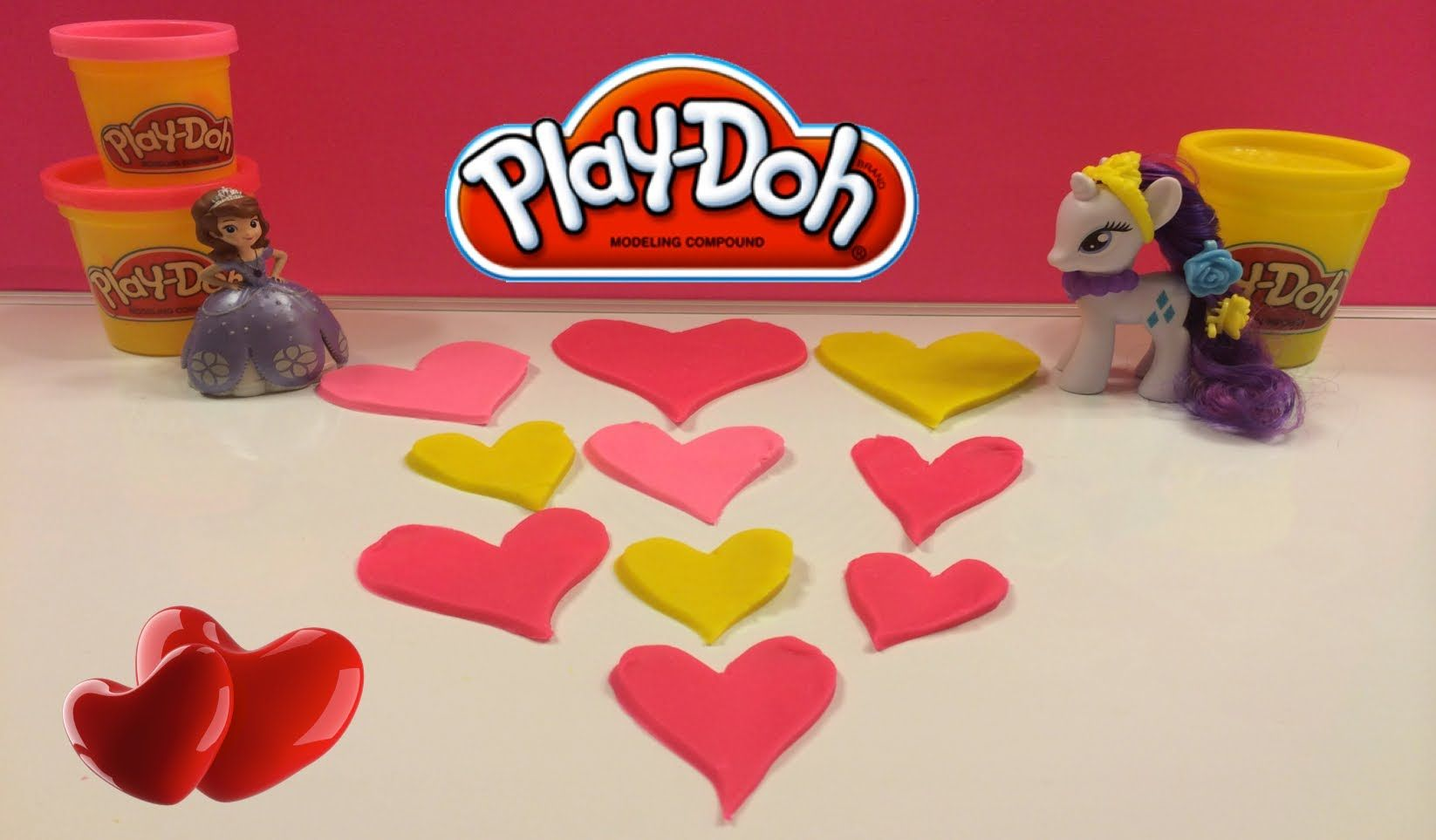 Play Doh Pink & Red Valentine's Hearts with My Little Pony Rarity & Disn...  -- create play doh hearts for your mommy, daddy, brothers, sisters, grandma, grandpa ...