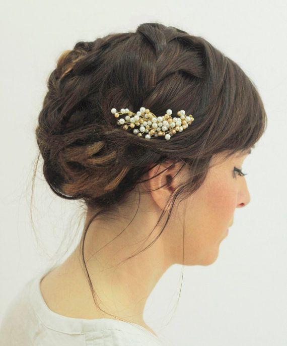 Pearl haircomb / white & gold pearls headpiece / beaded pearl hairpiece / bridal pearls haircomb
