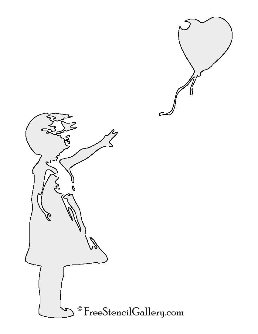 image regarding Printable Spray Paint Stencils identify Banksy-Balloon Lady Stencil Print Me Banksy artwork, Banksy