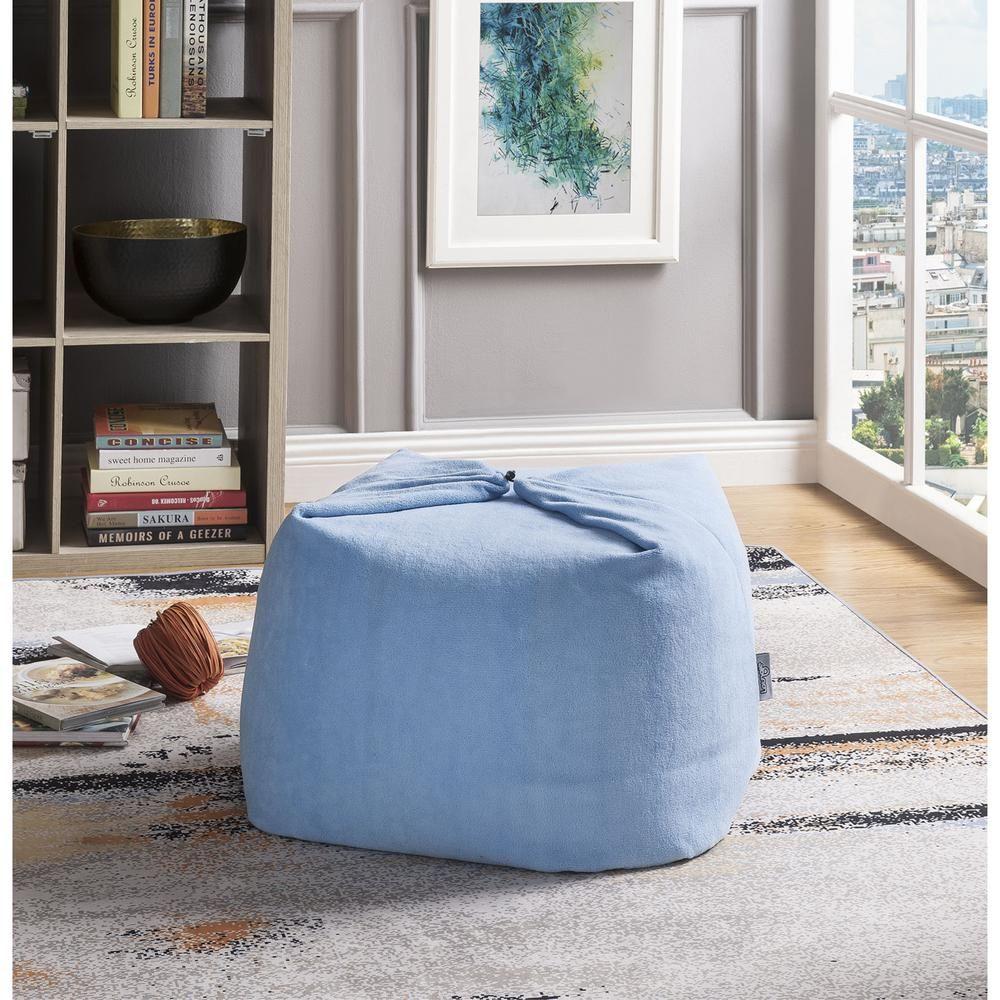 Loungie Magic Pouf Blue Microplush Bean Bag Chair Convertible