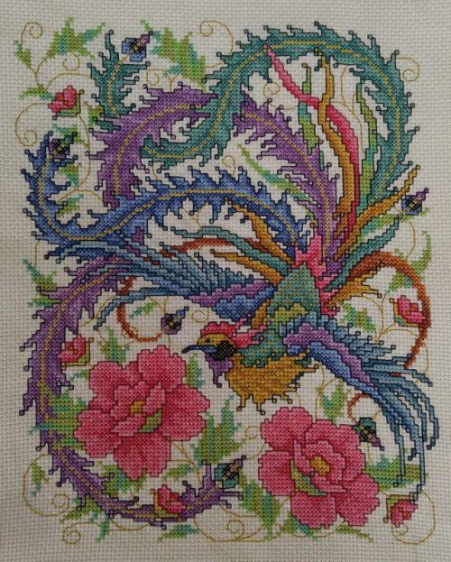 Oriental Phoenix And Flowers By Joan Elliott Cross Stitch Chart