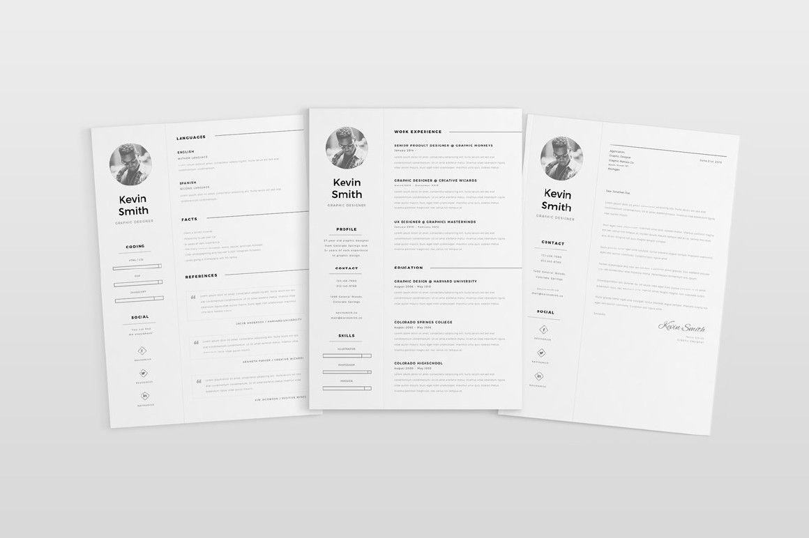 Free Clean And Minimal Resume Template  Digital Resources