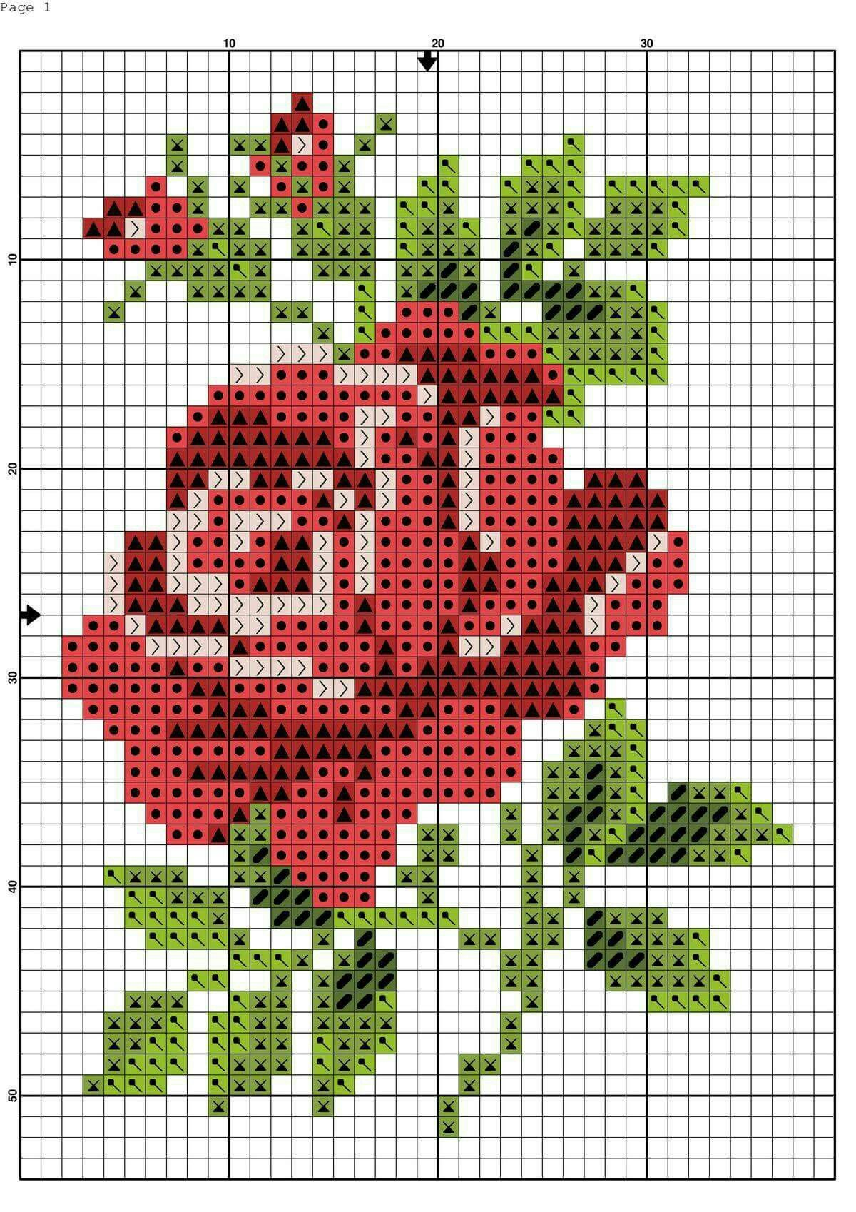 Red Rose Chart Cross Stitch Patterns Flowers Floral Cross Stitch Cross Stitch Flowers