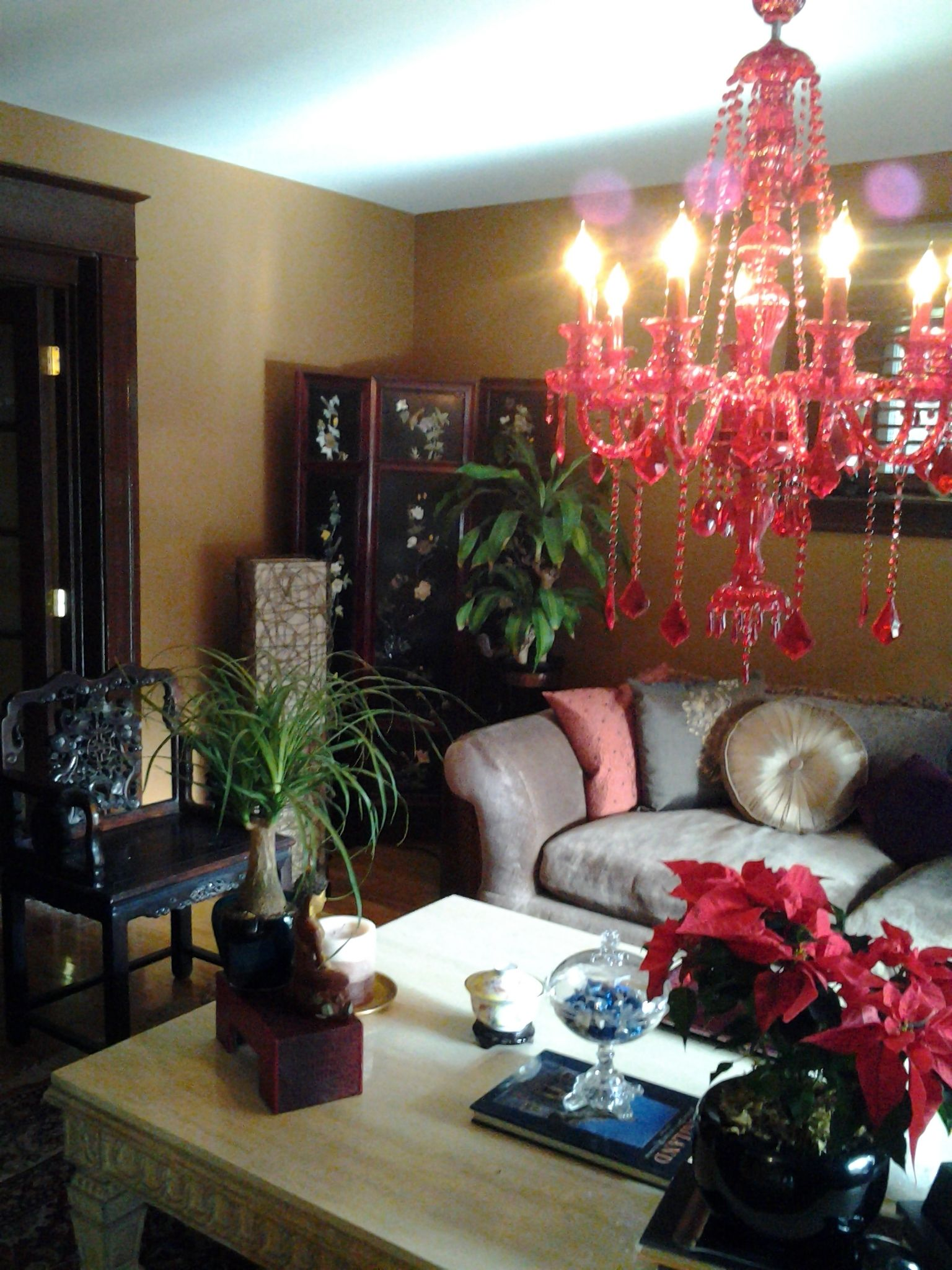 Portland Remodel Chenille Sofa , Chinese Rosewood Screens And Rosewood  Chair Chocolate Moldings Topped Off With This Fantastic Red Crystal  Chandelier.