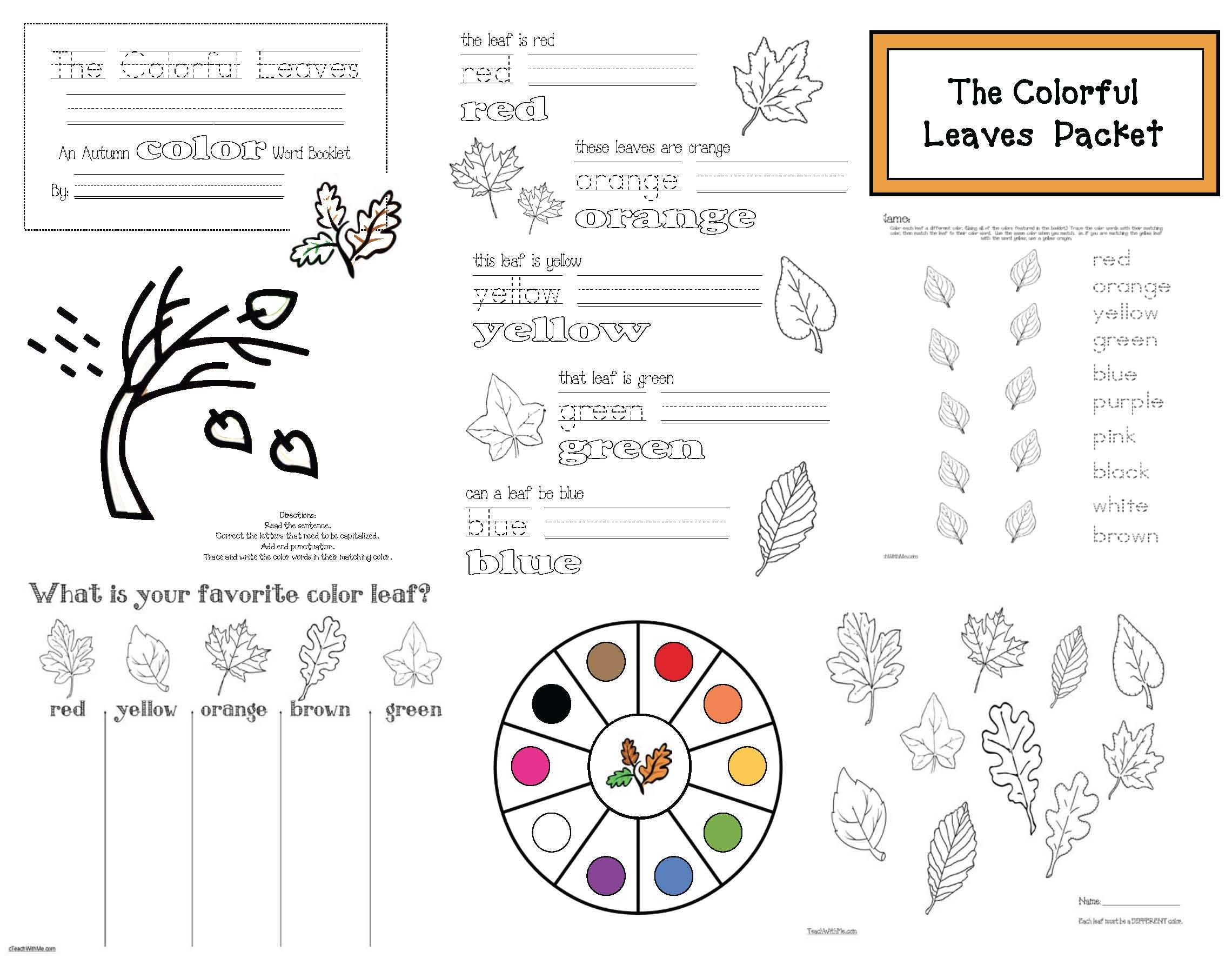 October School Activities Free Autumn Leaves Packet