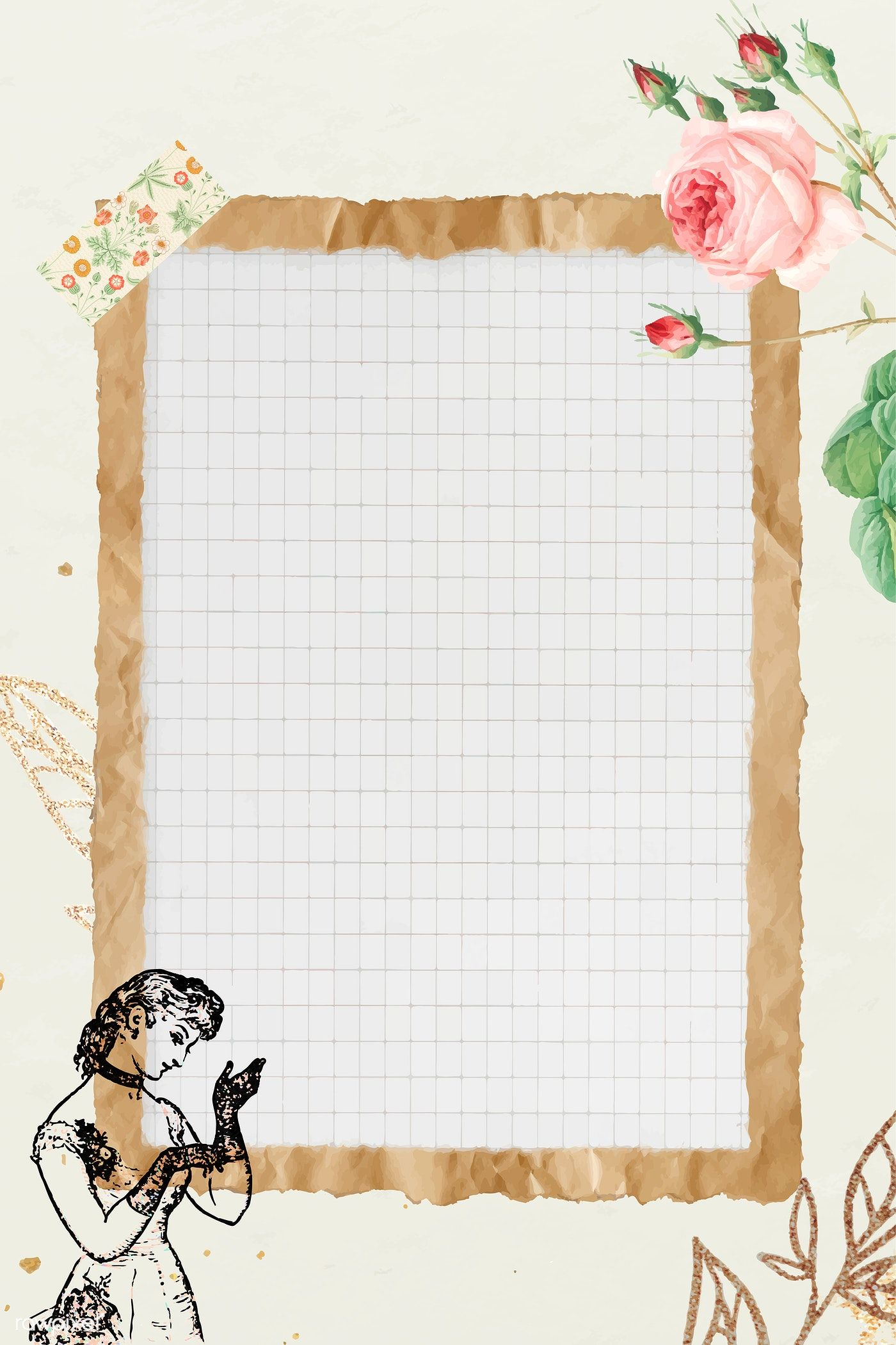 Download Premium Vector Of Crumpled Brown Paper Frame With Grid Background Paper Frames Paper Background Design Aesthetic Iphone Wallpaper