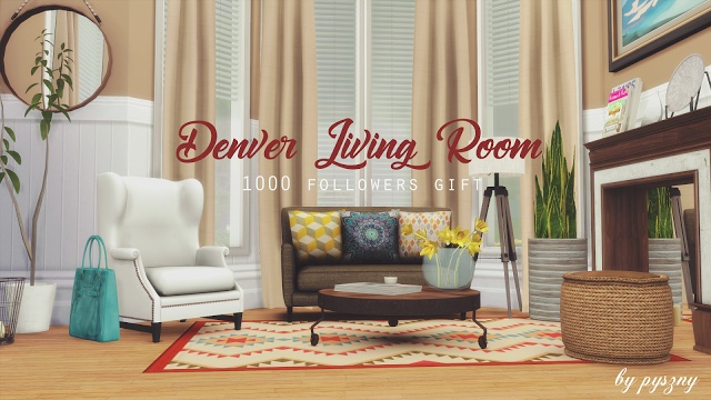 Sims 4 CC\'s - The Best: Denver Living Room by pysznydesign | Sims 4 ...