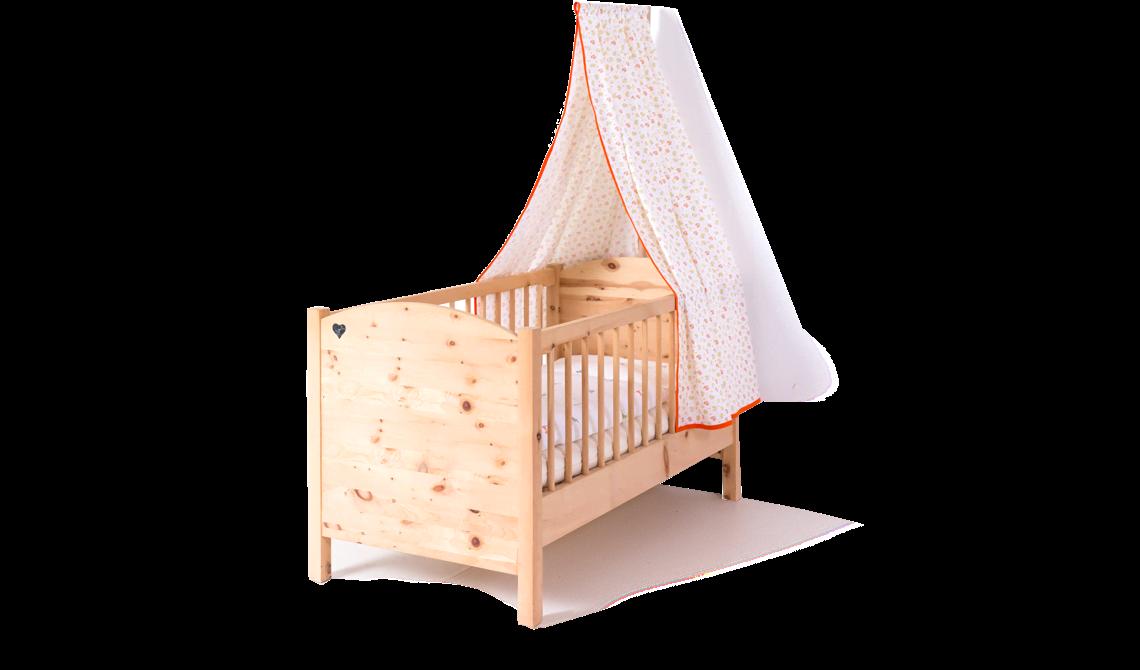 Kinderbett aus massivem zirbenholz innenmaß: 70 x 140 cm außenmaß