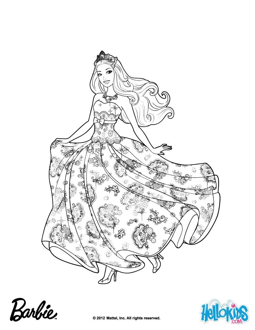 Princess Tori Barbie Coloring Page More Barbie The Princess The Popstar Coloring Pages On Hellokids Com Barbie Desenho Pintura Para Criancas Colorir Barbie