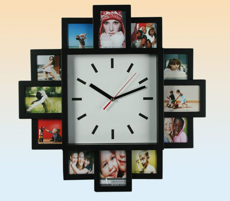 Multi Photo Family 12 Picture Frame Time Wall Clock Black Hanging Modern New Ebay Relojes De Pared Originales Relojes De Pared Reloj De Pared
