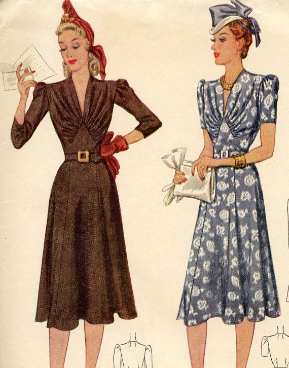 Sew Something Vintage 1940s Fashion: 1940s Vintage Sewing Pattern McCall 3578 WWII By