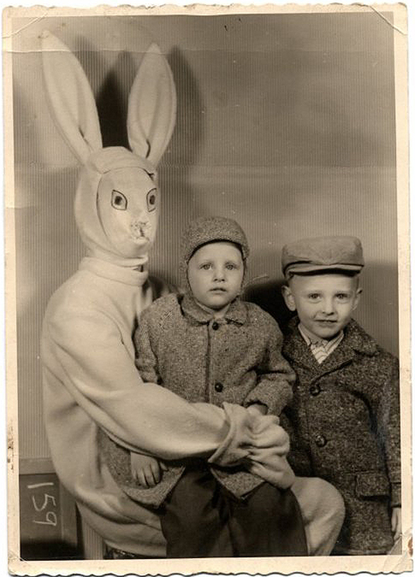 http://www.old-chum.com/ How did they talk these children into sitting on this creepy rabbit's lap?