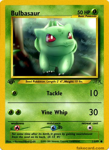 I used to make fake Pokemon cards years ago. Decided to make a Bulbasaur  card for the hell of it.