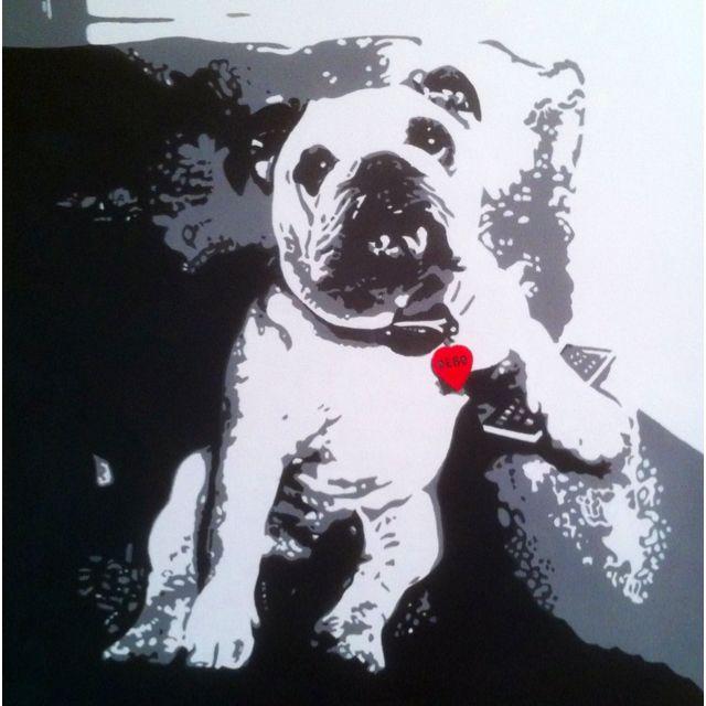 "English Bulldog ""Debo"" Acrylic Portrait - 18x24"" hand painted portrait on canvas. www.ArtByLatiolais.com"
