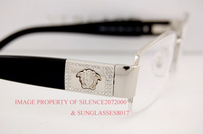 cc14a873d2554 Brand New VERSACE Eyeglasses Frames 1175B 1000 SILVER BLACK SZ 53 ...