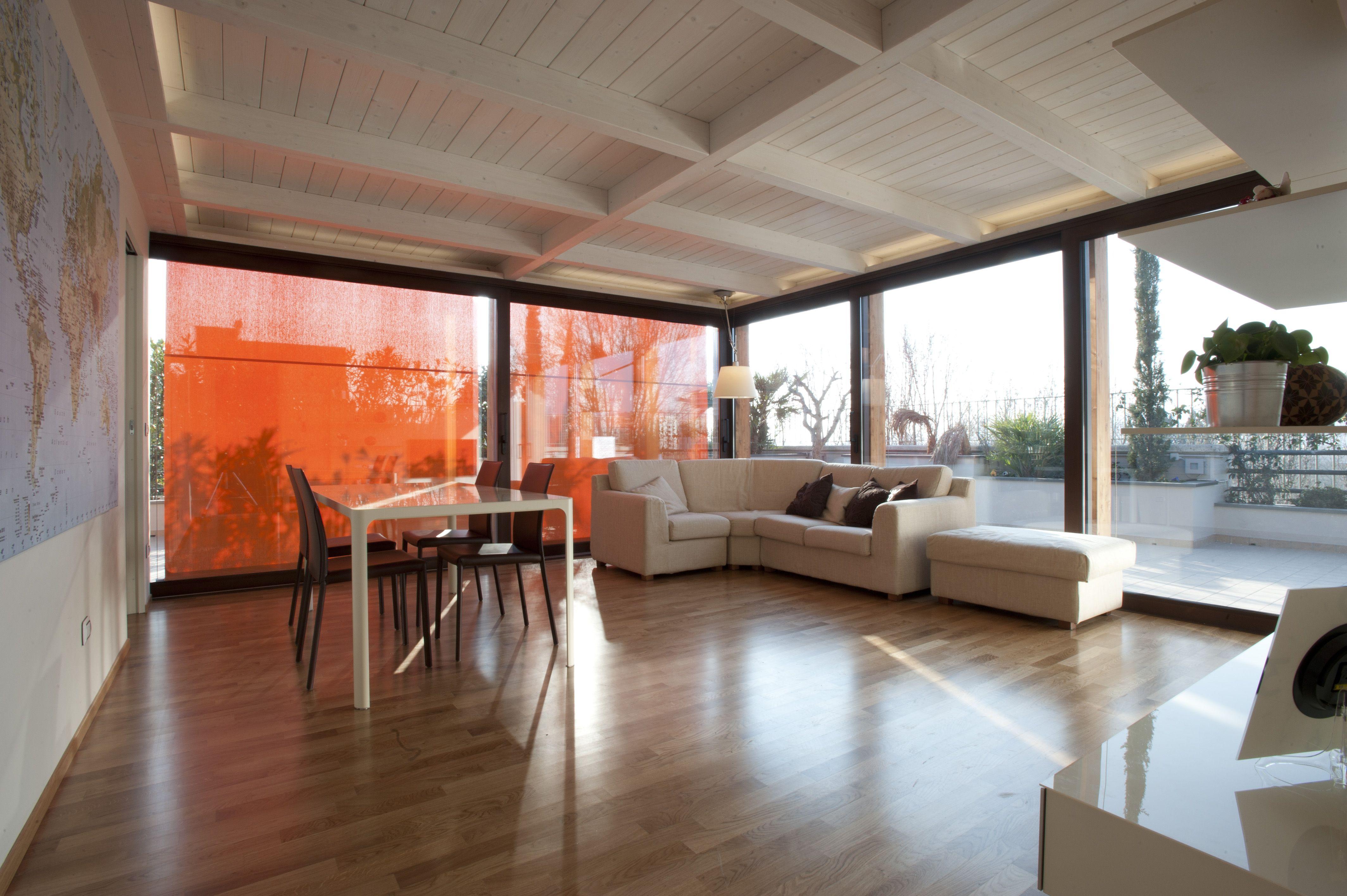 Veranda realizzata mediante impermeabilizzazione e copertura di terrazza scorrevoli alzanti for Arredo 3 srl legnago