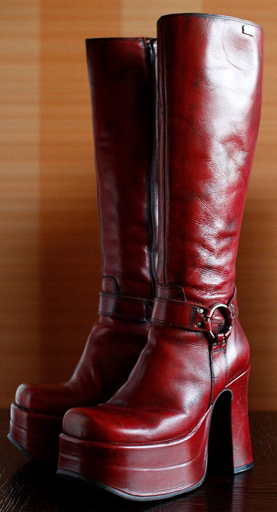 b4c09a714b5 Original BUFFALO super high platform boots 38 EUR 7 US WOMEN condition   excellent made in Spain high quality dark red leather great for goth rave  and club ...