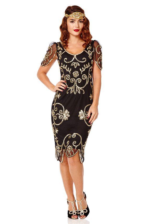 c039bc42a7b Rosemary Black Gold Dress Vintage 1920s inspired Flapper Great Gatsby Art  Deco Rehearsal Dinner Downton Abbey Speakeasy Charleston Dress New