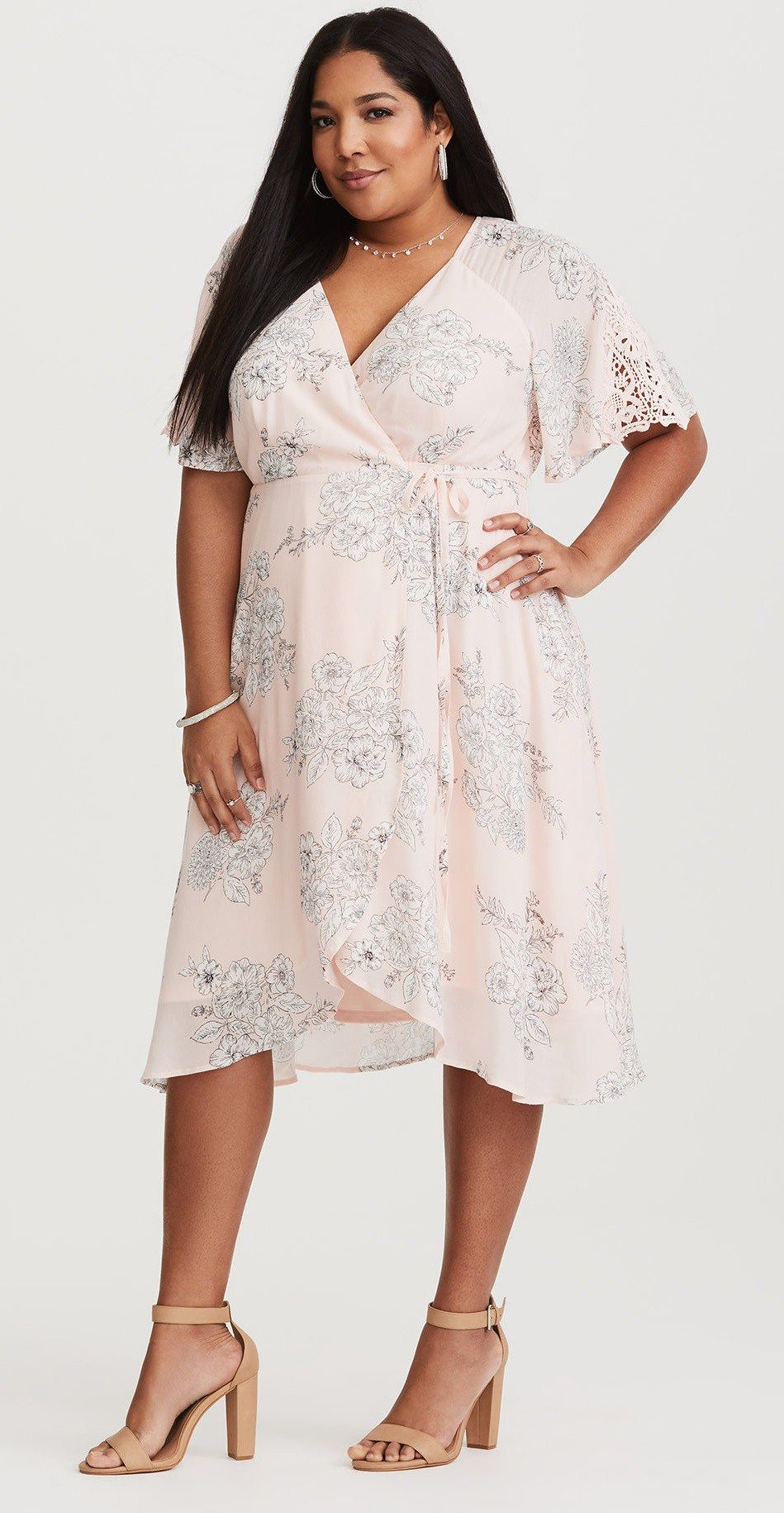 40 Plus Size Spring Wedding Guest Dresses With Sleeves Alexa Webb Wrap Dress Floral Spring Wedding Guest Dress Guest Dresses