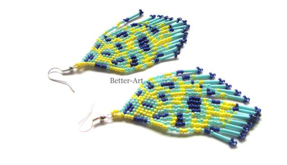 Native American earrings brick stitch chandeliers by Magicbeading