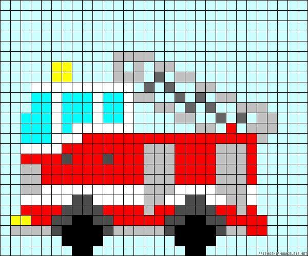 Feuerwehrauto Bügelperlen Häkeln Auto Stickmotive