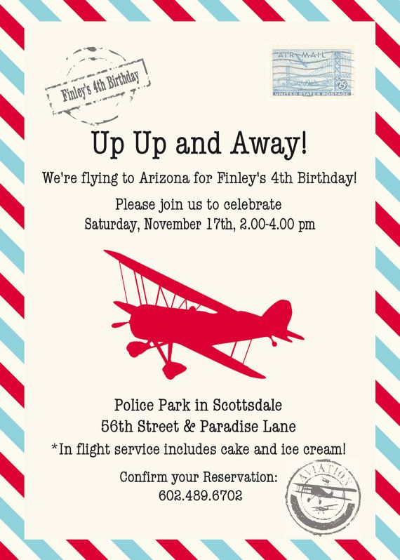 red and aqua vintage airplane invitation by stylemeshabbychic
