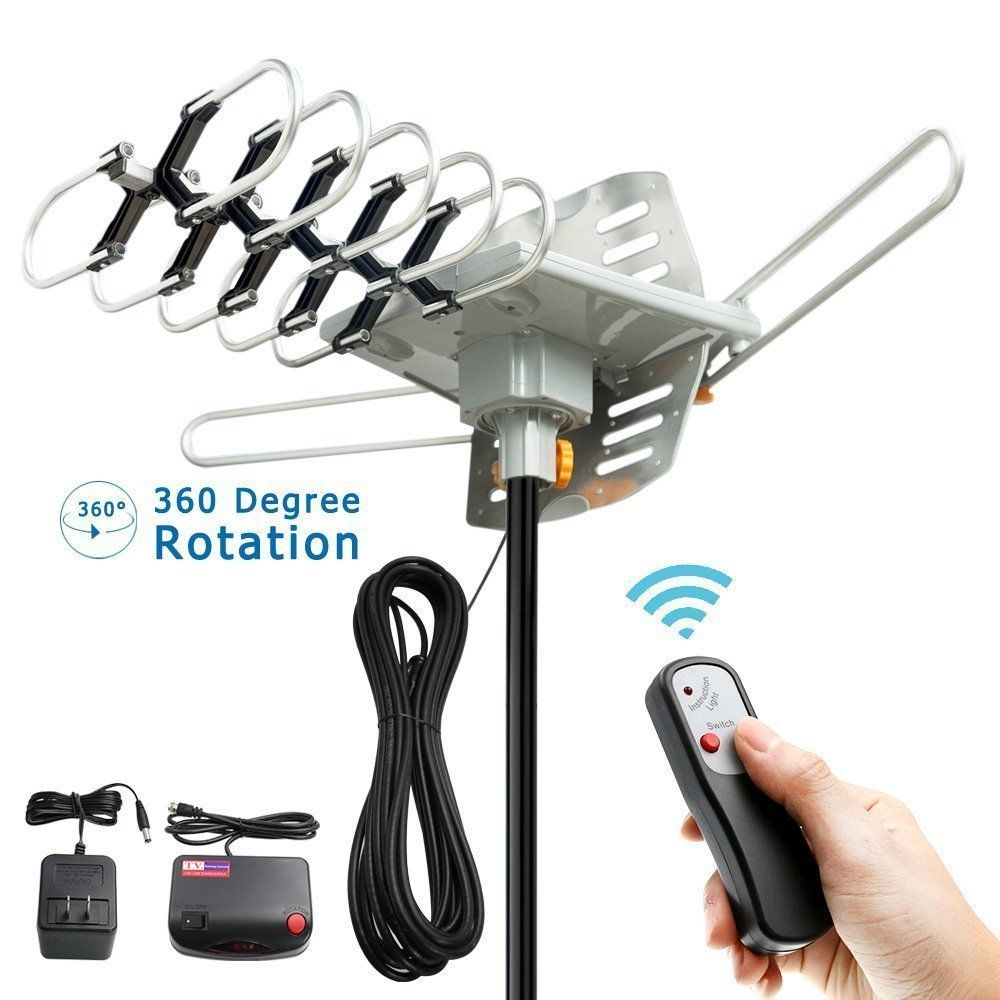 HDTV Antenna Amplified Digital TV Antenna 150 Mile 360 Rotation Outdoor 1080P
